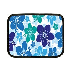 Hibiscus Flowers Green Blue White Hawaiian Netbook Case (small)  by Mariart