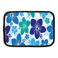 Hibiscus Flowers Green Blue White Hawaiian Netbook Case (medium)  by Mariart