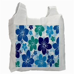 Hibiscus Flowers Green Blue White Hawaiian Recycle Bag (two Side)  by Mariart