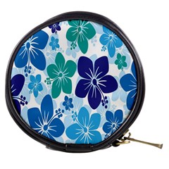 Hibiscus Flowers Green Blue White Hawaiian Mini Makeup Bags by Mariart
