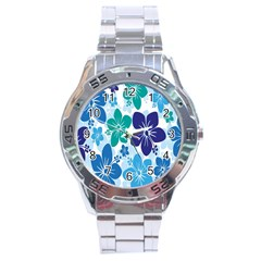 Hibiscus Flowers Green Blue White Hawaiian Stainless Steel Analogue Watch