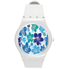 Hibiscus Flowers Green Blue White Hawaiian Round Plastic Sport Watch (m) by Mariart