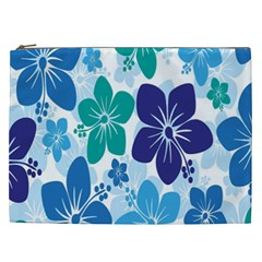 Hibiscus Flowers Green Blue White Hawaiian Cosmetic Bag (xxl)  by Mariart