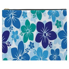Hibiscus Flowers Green Blue White Hawaiian Cosmetic Bag (xxxl)  by Mariart