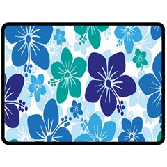 Hibiscus Flowers Green Blue White Hawaiian Double Sided Fleece Blanket (large)  by Mariart