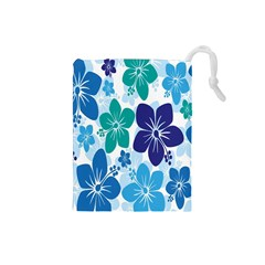 Hibiscus Flowers Green Blue White Hawaiian Drawstring Pouches (small)  by Mariart