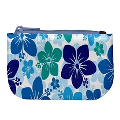 Hibiscus Flowers Green Blue White Hawaiian Large Coin Purse by Mariart