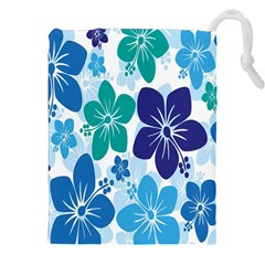 Hibiscus Flowers Green Blue White Hawaiian Drawstring Pouches (xxl) by Mariart