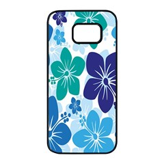 Hibiscus Flowers Green Blue White Hawaiian Samsung Galaxy S7 Edge Black Seamless Case by Mariart