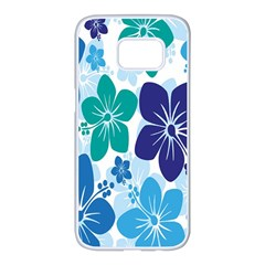Hibiscus Flowers Green Blue White Hawaiian Samsung Galaxy S7 Edge White Seamless Case by Mariart