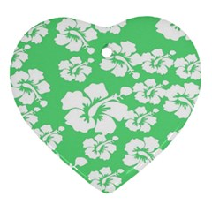 Hibiscus Flowers Green White Hawaiian Ornament (heart) by Mariart