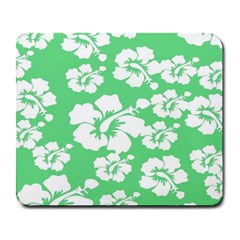 Hibiscus Flowers Green White Hawaiian Large Mousepads by Mariart