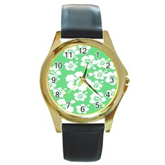 Hibiscus Flowers Green White Hawaiian Round Gold Metal Watch by Mariart