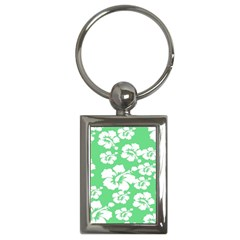 Hibiscus Flowers Green White Hawaiian Key Chains (rectangle)  by Mariart