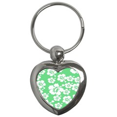 Hibiscus Flowers Green White Hawaiian Key Chains (heart)  by Mariart