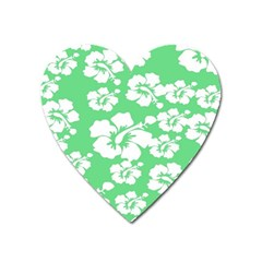 Hibiscus Flowers Green White Hawaiian Heart Magnet by Mariart