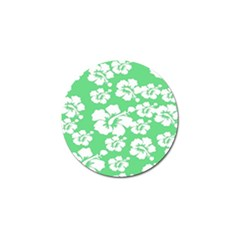 Hibiscus Flowers Green White Hawaiian Golf Ball Marker by Mariart