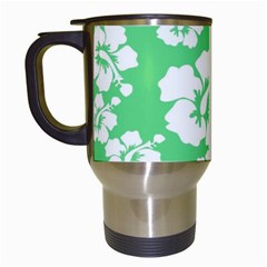 Hibiscus Flowers Green White Hawaiian Travel Mugs (white) by Mariart