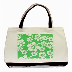 Hibiscus Flowers Green White Hawaiian Basic Tote Bag by Mariart