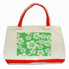 Hibiscus Flowers Green White Hawaiian Classic Tote Bag (red) by Mariart