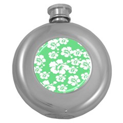 Hibiscus Flowers Green White Hawaiian Round Hip Flask (5 Oz) by Mariart