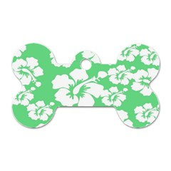 Hibiscus Flowers Green White Hawaiian Dog Tag Bone (two Sides) by Mariart