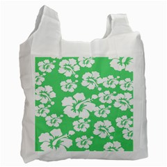 Hibiscus Flowers Green White Hawaiian Recycle Bag (one Side) by Mariart