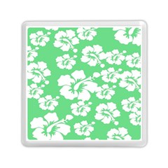 Hibiscus Flowers Green White Hawaiian Memory Card Reader (square)  by Mariart