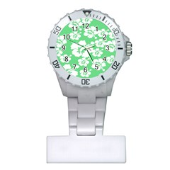 Hibiscus Flowers Green White Hawaiian Plastic Nurses Watch by Mariart