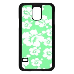 Hibiscus Flowers Green White Hawaiian Samsung Galaxy S5 Case (black) by Mariart