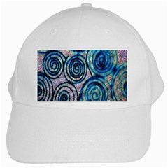 Green Blue Circle Tie Dye Kaleidoscope Opaque Color White Cap by Mariart