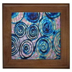 Green Blue Circle Tie Dye Kaleidoscope Opaque Color Framed Tiles by Mariart