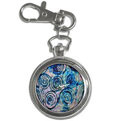Green Blue Circle Tie Dye Kaleidoscope Opaque Color Key Chain Watches