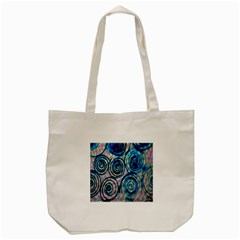 Green Blue Circle Tie Dye Kaleidoscope Opaque Color Tote Bag (cream) by Mariart