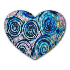 Green Blue Circle Tie Dye Kaleidoscope Opaque Color Heart Mousepads by Mariart