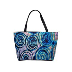 Green Blue Circle Tie Dye Kaleidoscope Opaque Color Shoulder Handbags by Mariart