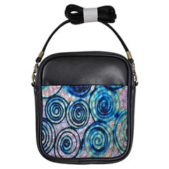 Green Blue Circle Tie Dye Kaleidoscope Opaque Color Girls Sling Bags by Mariart