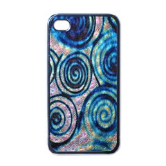 Green Blue Circle Tie Dye Kaleidoscope Opaque Color Apple Iphone 4 Case (black)