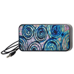 Green Blue Circle Tie Dye Kaleidoscope Opaque Color Portable Speaker (black) by Mariart