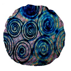 Green Blue Circle Tie Dye Kaleidoscope Opaque Color Large 18  Premium Flano Round Cushions by Mariart