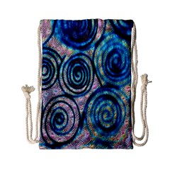 Green Blue Circle Tie Dye Kaleidoscope Opaque Color Drawstring Bag (small) by Mariart