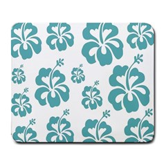 Hibiscus Flowers Green White Hawaiian Blue Large Mousepads by Mariart