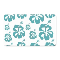 Hibiscus Flowers Green White Hawaiian Blue Magnet (rectangular) by Mariart