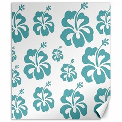 Hibiscus Flowers Green White Hawaiian Blue Canvas 8  X 10  by Mariart