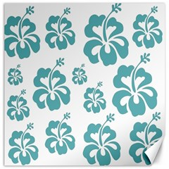 Hibiscus Flowers Green White Hawaiian Blue Canvas 20  X 20   by Mariart
