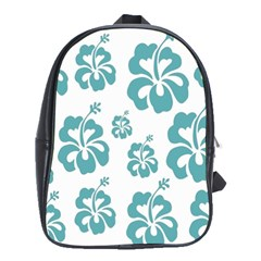 Hibiscus Flowers Green White Hawaiian Blue School Bags(large)  by Mariart