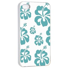 Hibiscus Flowers Green White Hawaiian Blue Apple Iphone 4/4s Seamless Case (white) by Mariart