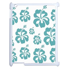 Hibiscus Flowers Green White Hawaiian Blue Apple Ipad 2 Case (white) by Mariart