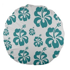 Hibiscus Flowers Green White Hawaiian Blue Large 18  Premium Round Cushions by Mariart