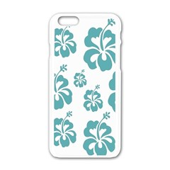 Hibiscus Flowers Green White Hawaiian Blue Apple Iphone 6/6s White Enamel Case by Mariart